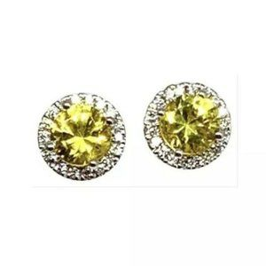 Sapphire & Diamond 18 Kt Stud Earrings 912290